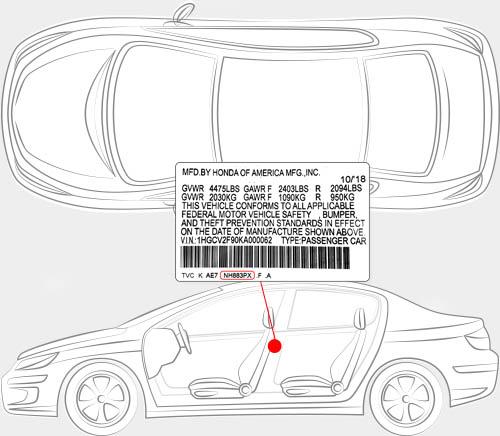 Honda Paint Code Locator