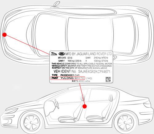 Land Rover Paint Code Locator